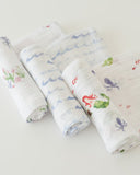 Cotton Muslin Swaddles 3 pack Girl