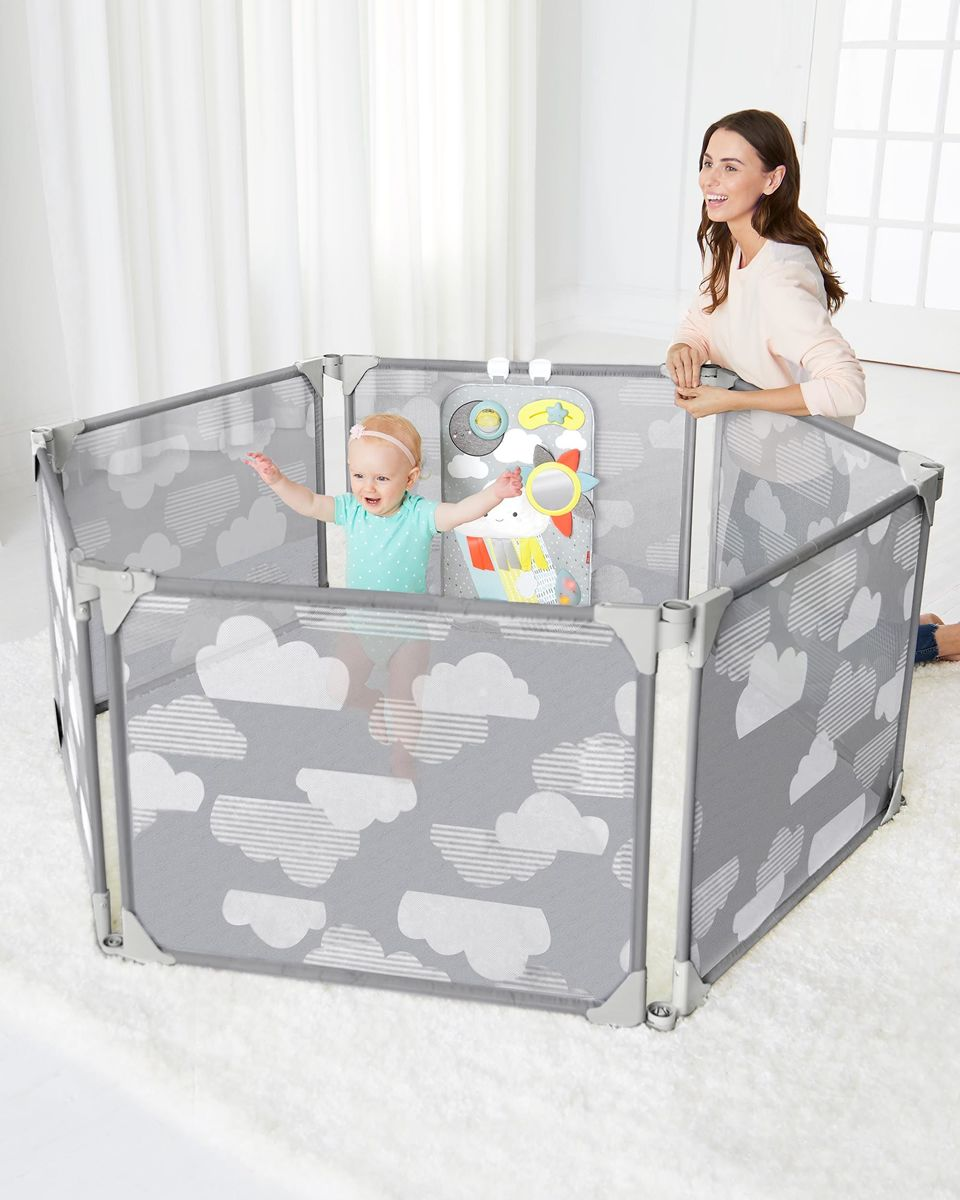 Expandable or Wall Mounted Playpen with Clip-On Play Surface, Silver Lining Cloud
