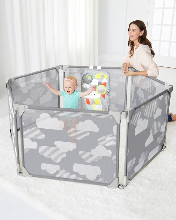 Expandable or Wall Mounted Playpen with Clip-On Play Surface, Silver Lining Cloud Gate