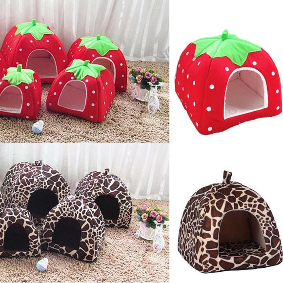 Strawberry & Leopard Print Cat Cave w/ Cushion Basket Bed