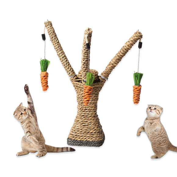 Cat Rope Scratching Tree with Dangling Carrots