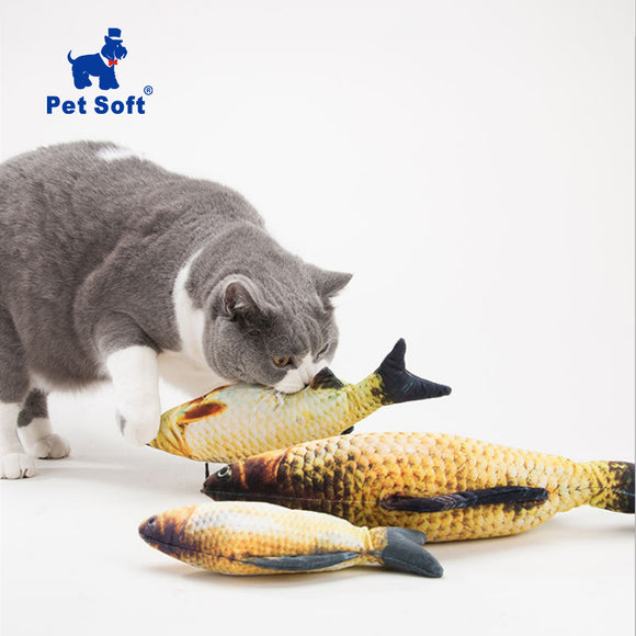 Soft Plush Fish Shape Cat Toy - Catnip Stuffed Fish Doll