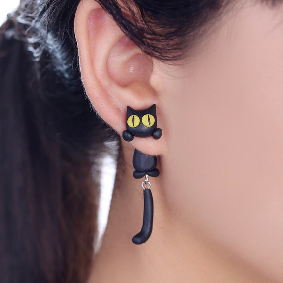 Handmade Black Cat Clay Stud Earrings