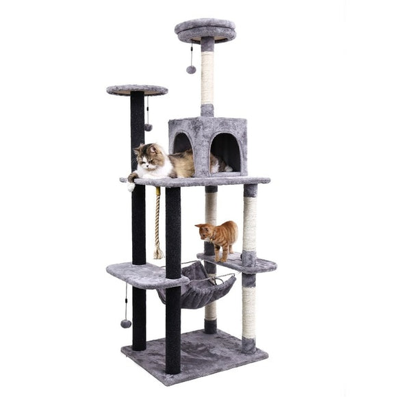 Cat Tree Tower Condo w/ Scratch Post, Hammock, & Ladder for Kittens
