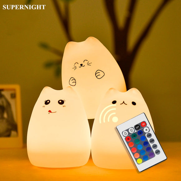 Bright Cat Color Changing Night Light with Remote