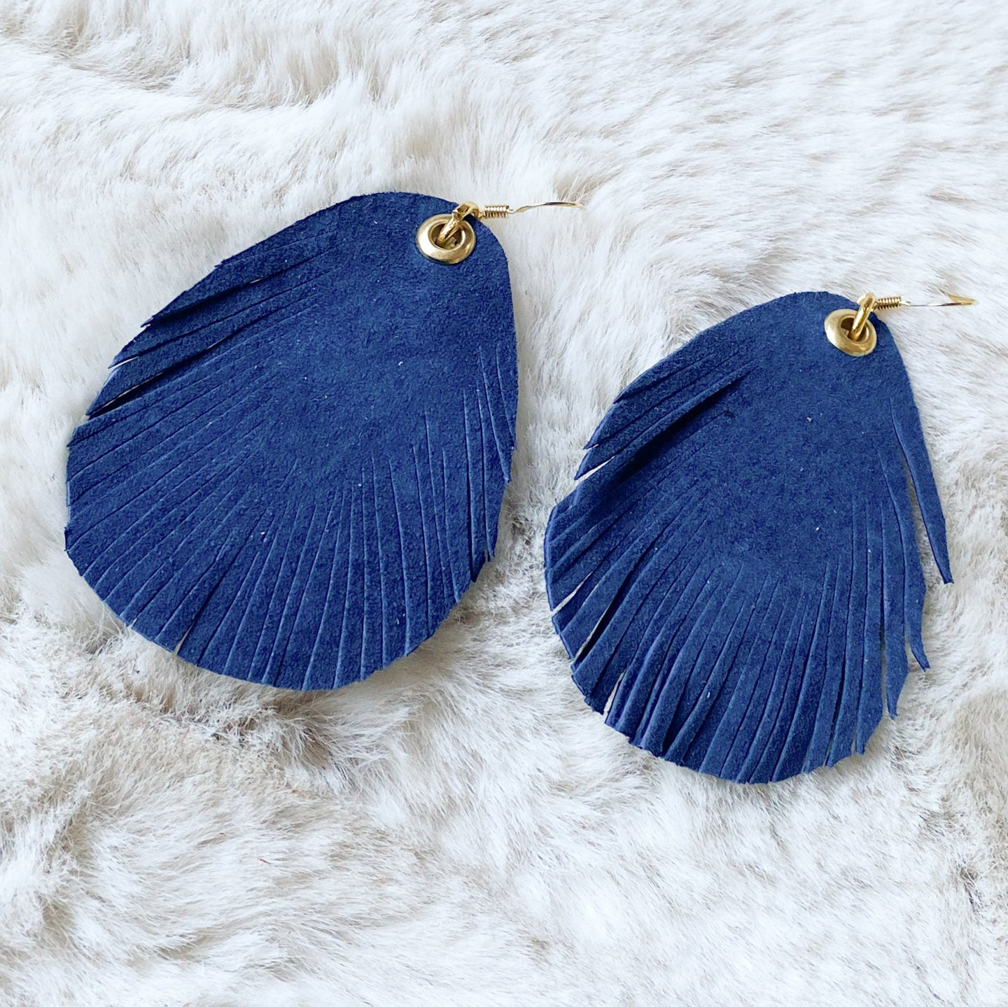 Leather Feather - Navy