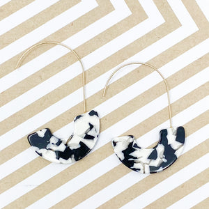 Black and White Half Hoop Earrings
