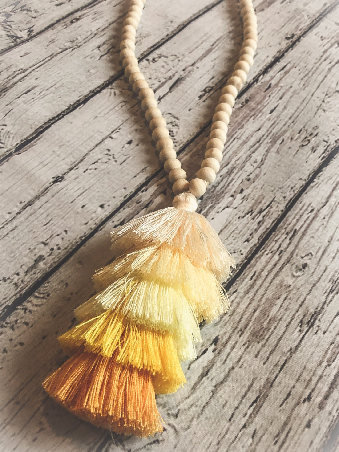 Wood Tassel Necklace - yellows