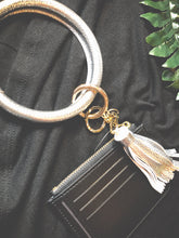 Load image into Gallery viewer, Grab & Go Wristlet Keychain w/tassel - Black/Gold/Silver