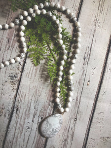 White Natural Long Necklace