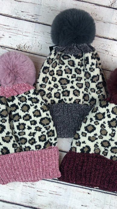 Soft Palm Chenille Leopard Beanies