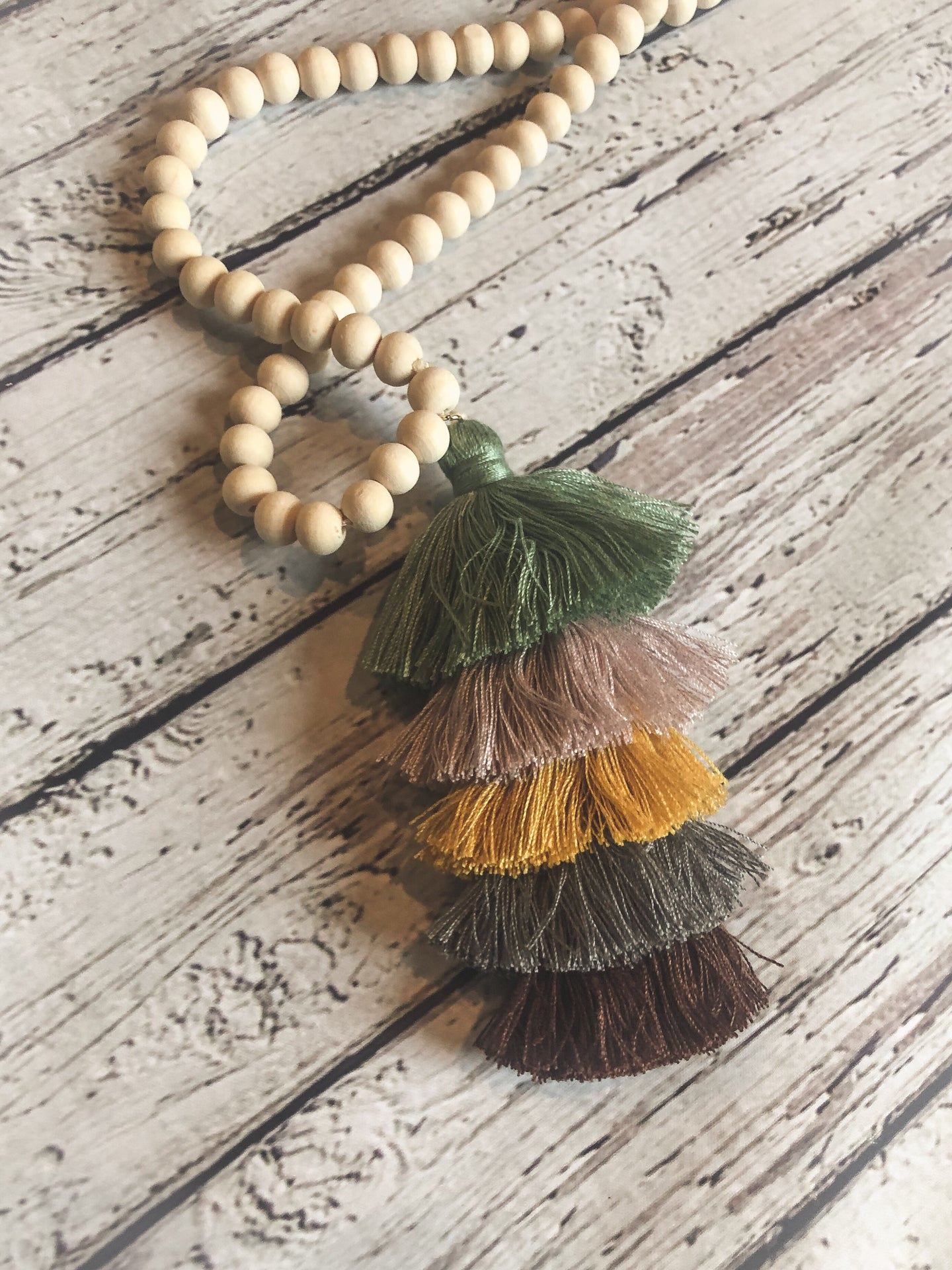 Wood Tassel Necklace - Green/Mauve/Mustard/Grey/Burg