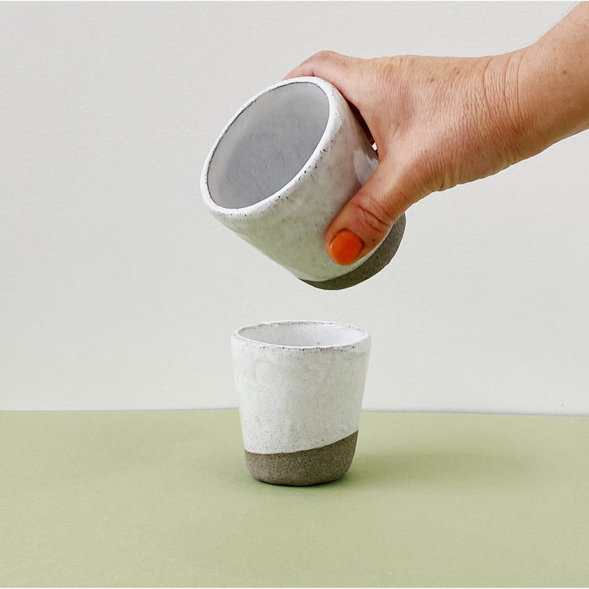 Coffee tumblers - white with sandstone clay