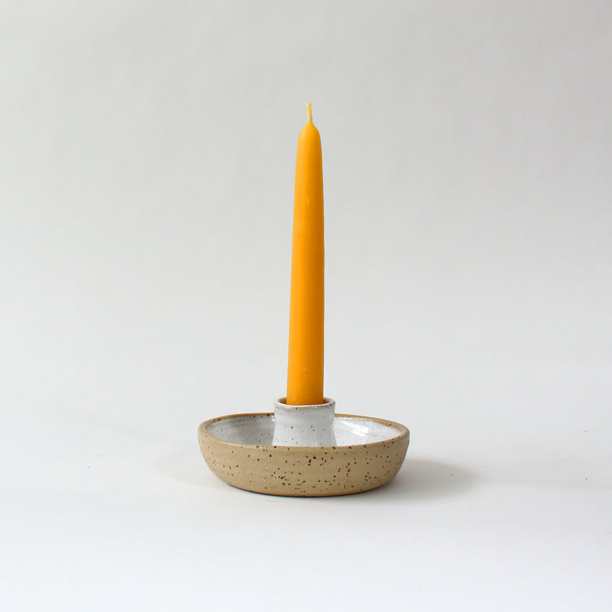 Low candle holder  - speckled white
