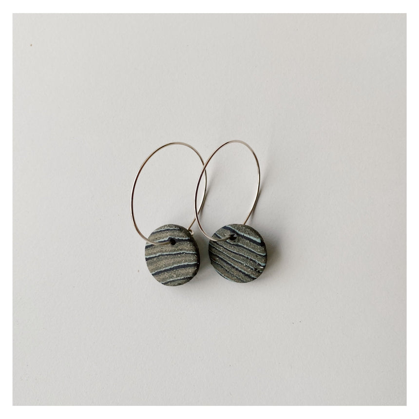 Lil Ceramics - seascape - mini disc hoop earrings #12