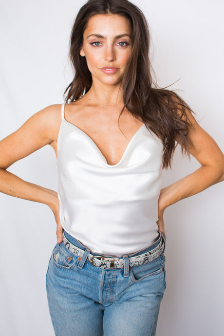 B&B Cowl Neck Cami in White - Finding July