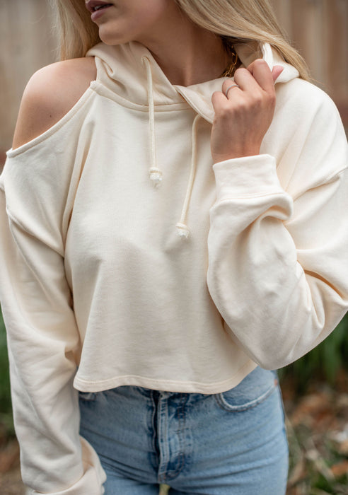 Bank On It Cut Out Shoulder Hoodie - Finding July