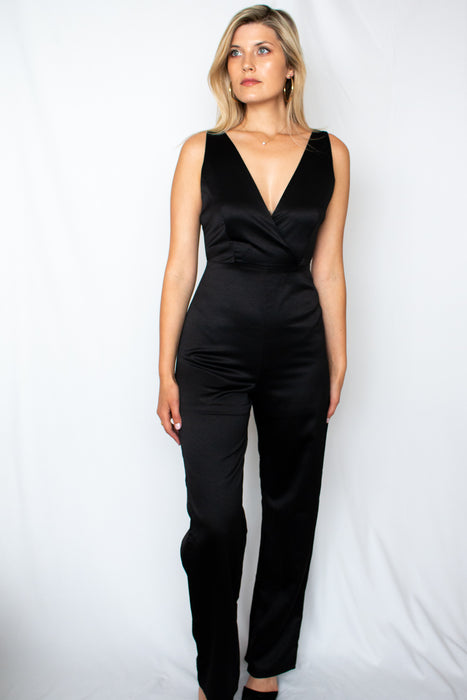 Be You Black Satin Jumpsuit - Finding July