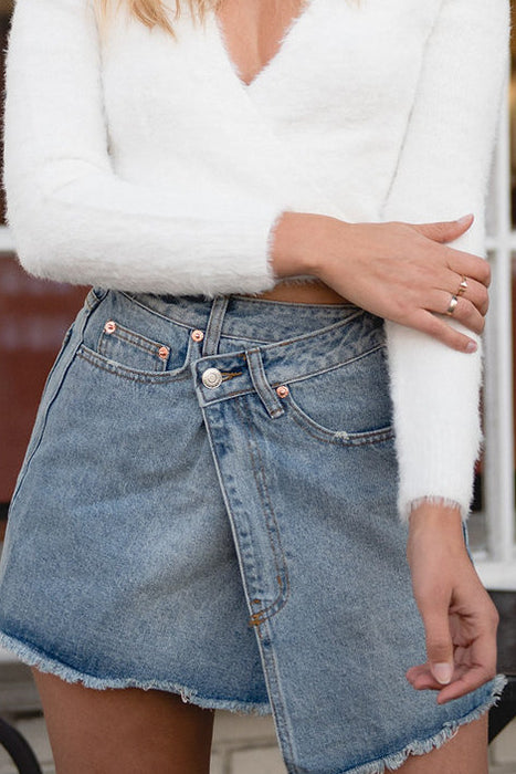 Crisscross Denim Skirt-[finding_july]
