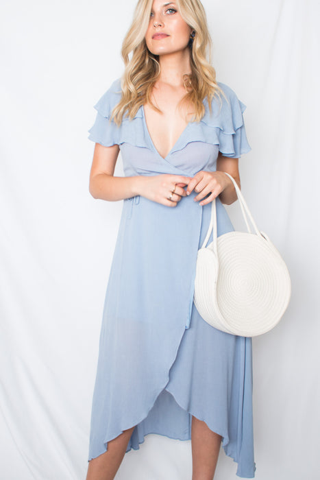 Blue Daisy Wrap Dress-[finding_july]