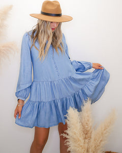 Save The Date Denim Tiered Dress - Finding July