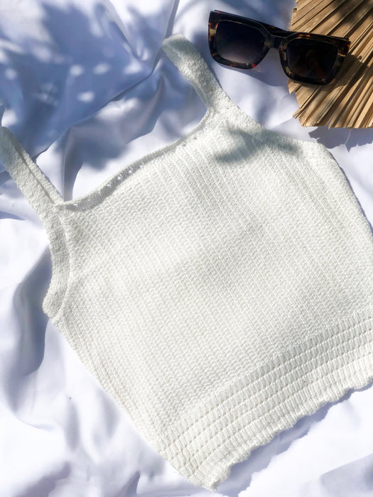 Flat White Knit Crop - Finding July