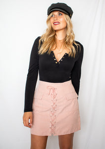 Lace Me Up Skirt in Pink- [Finding_July]
