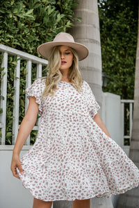 Latte Time Leopard Print Tiered Dress