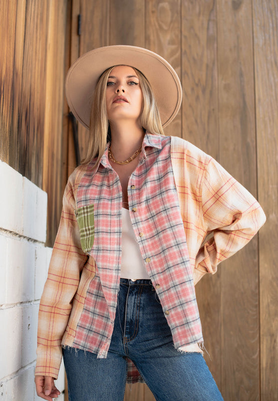 Prime Time Patchwork Plaid Shirt - Finding July