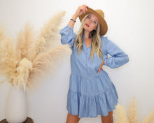 Load image into Gallery viewer, Save The Date Denim Tiered Dress - Finding July