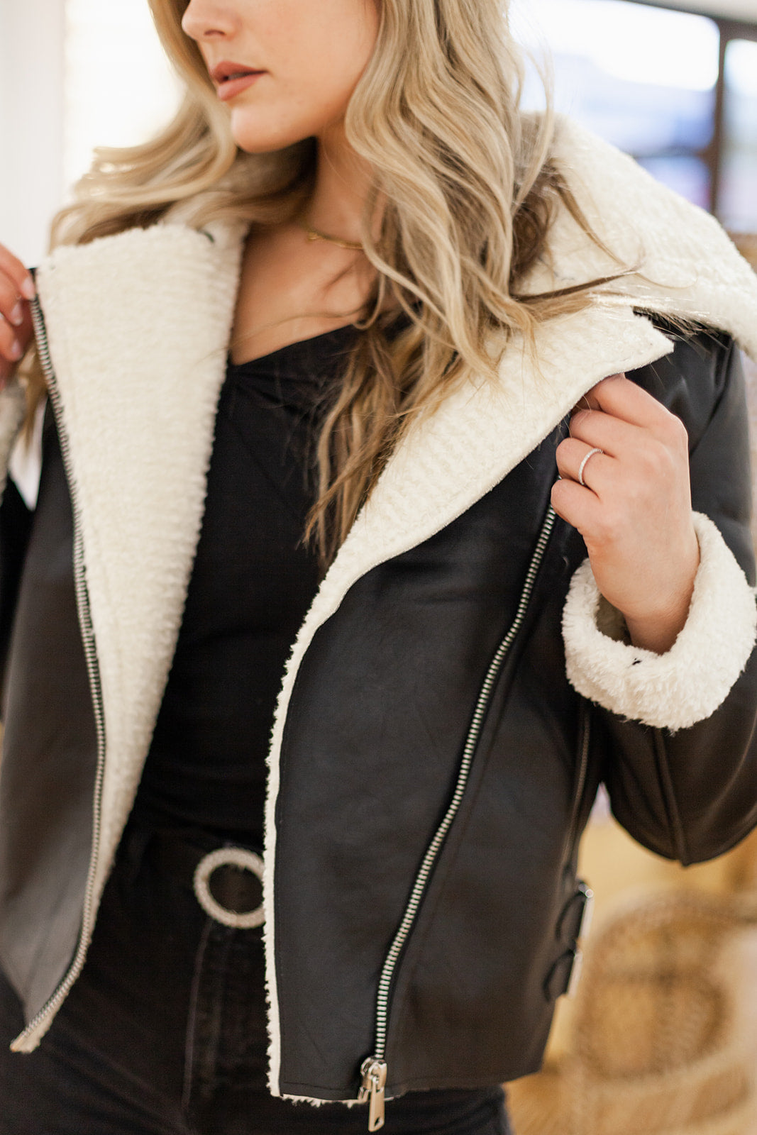 Super Star Sherpa Lined Moto Jacket - Finding July