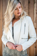 Load image into Gallery viewer, The 101 White Vegan Leather Jacket - Finding July