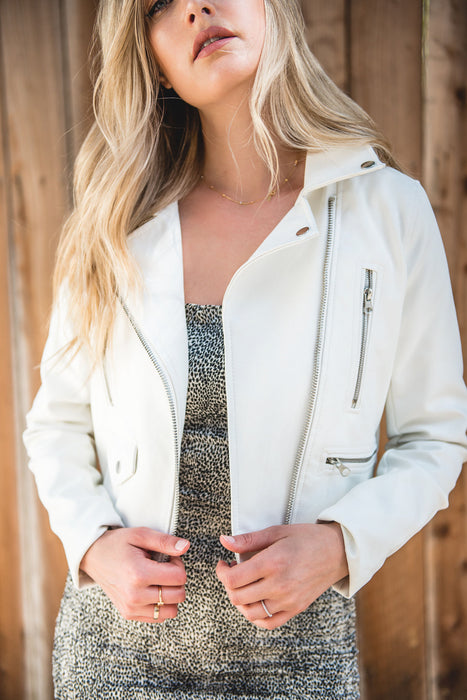 The 101 White Vegan Leather Jacket