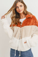 Load image into Gallery viewer, Charismatic Colour Block Faux Fur Jacket - Finding July