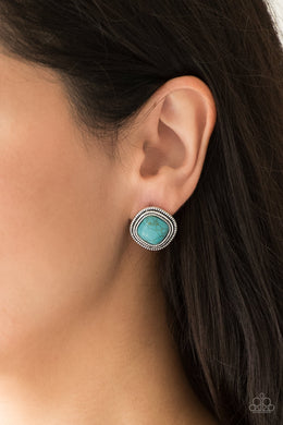 FRONTIER Runner  – Turquoise Square Post Earrings - Paparazzi Accessories