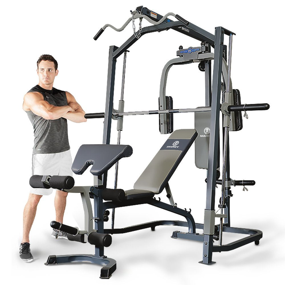 Marcy MP3100 Smith Machine Home Gym With Weight Bench - all-in-one - Cables: 900kg tensile strength - max. charge of 250 Kg.