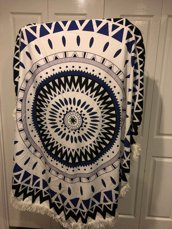Large round tassel throw rug