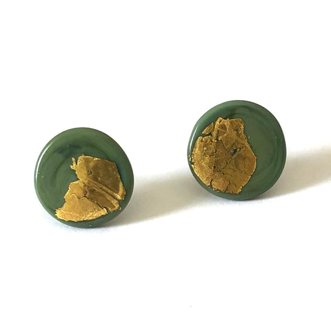 Gold Olive Handmade Glass Button Stud Earrings