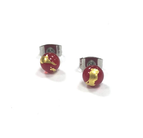 Red and Gold Handmade Glass Stud Earrings