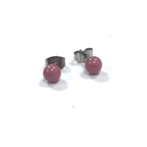 Pink Handmade Glass Stud Earrings