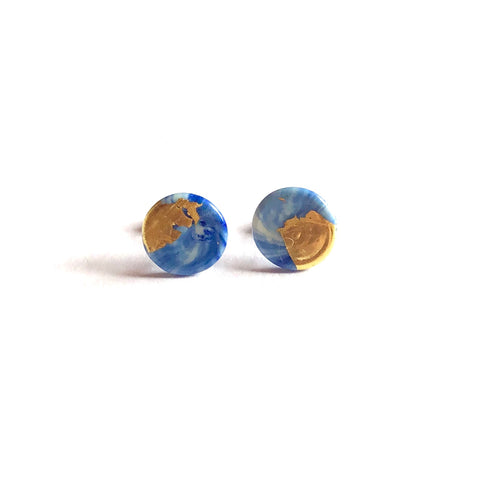 Glass and Gold Midi Stud Earrings, Delft Marble Effect
