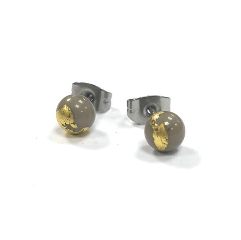 Grey and Gold Handmade Glass Stud Earrings