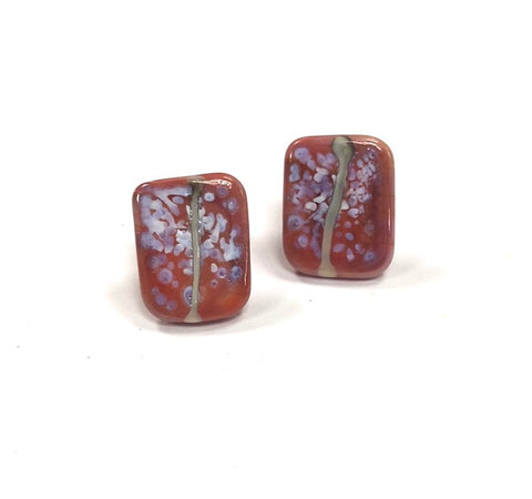 Snowy Coral Glass and Enamel Handmade Stud Earrings