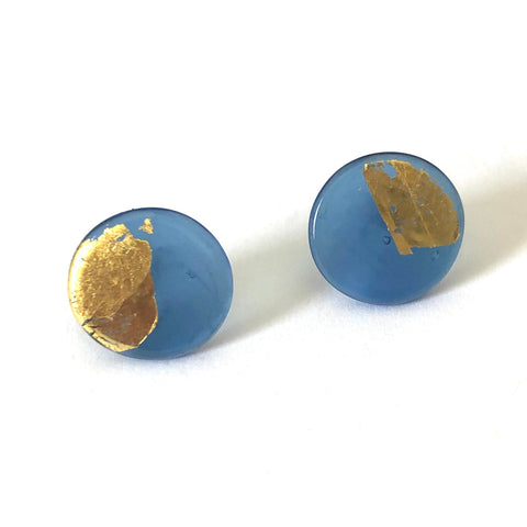 Gold Steel Blue Handmade Glass Button Stud Earrings