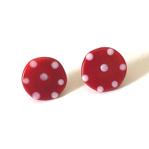 Dotty Red Handmade Glass Button Stud Earrings