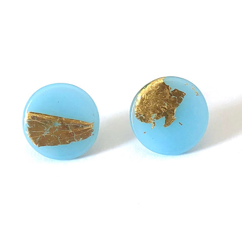 Gold Ice Blue Handmade Glass Button Stud Earrings