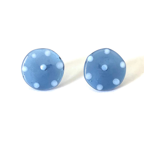 Dotty Slate Blue Handmade Glass Button Stud Earrings