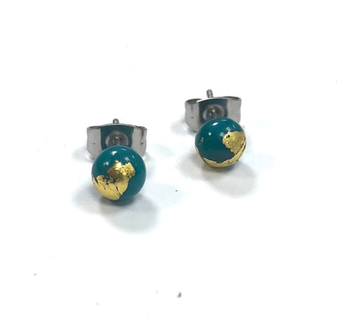 Teal and Gold Handmade Glass Stud Earrings