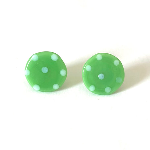 Dotty Apple Handmade Glass Button Stud Earrings