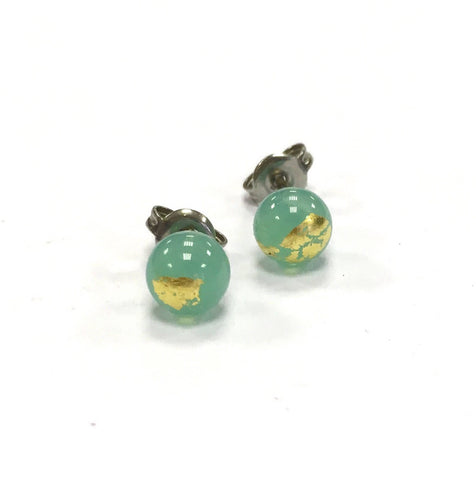 Jade and Gold Handmade Glass Stud Earrings